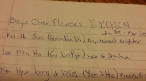 Boys Over Flowers - My first KDrama.  I wrote down all the character names.  I tried to write the title in  Hangul.