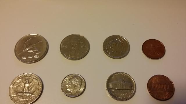 Flip side of South Korean coins
