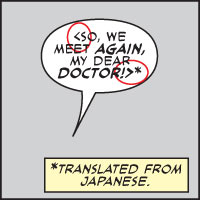 FOREIGN LANGUAGES character speaks in a >